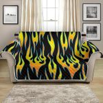 Yellow Flame Fire On Black Themed Pattern Sofa Couch Protector Cover