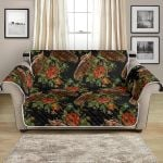Horse Embroidery With Flower Pattern Sofa Couch Protector Cover