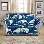 Great Blue Ocean Wave Pattern Sofa Couch Protector Cover