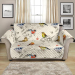 Bird Watercolor Art On Beige Themed Pattern Sofa Couch Protector Cover