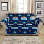 Camper Car And Night Forest Camping Pattern Sofa Couch Protector Cover