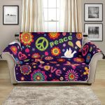 Colorful Flower Power Peace Hippie Pattern Sofa Couch Protector Cover