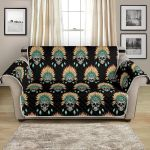 American Indian Skull On Black Background Pattern Sofa Couch Protector Cover