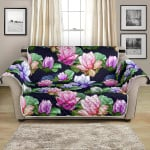 Beautiful Lotus Flower On Black Background Pattern Sofa Couch Protector Cover
