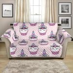 Cute Cupcakes Unicorn On Pink Background Pattern Sofa Couch Protector Cover