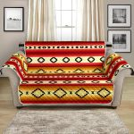 Hot Orange Rhombus Serape Themed Pattern Sofa Couch Protector Cover