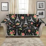 Eiffel Tower Rose On Black Background Pattern Sofa Couch Protector Cover