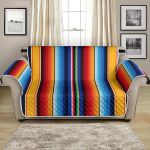 Mexican Blanket Colorful Stripe Pattern Sofa Couch Protector Cover