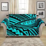 Black And Teal Green Polynesian Tribal Pattern Sofa Couch Protector Cover