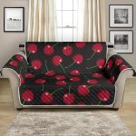 Red Cherry On Black Background Pattern Sofa Couch Protector Cover