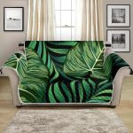 Green Fresh Tropical Palm Leaves Pattern Sofa Couch Protector Cover