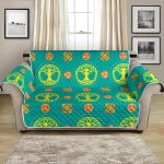 Irish Celtic Tree Of Life On Cyan Blue Pattern Sofa Couch Protector Cover