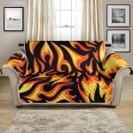 Flame Fire On Black Themed Pattern Sofa Couch Protector Cover