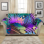 Neon Tropical Palm Leaves Flower Pattern Sofa Couch Protector Cover