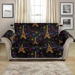 Eiffel Tower Love Paris On Black Pattern Sofa Couch Protector Cover