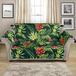 Tropical Flower Red Heliconia Leaves Pattern Sofa Couch Protector Cover