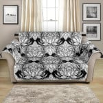 Hand Drawn White Lotus Mandala Pattern Sofa Couch Protector Cover