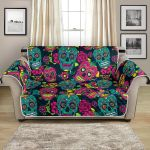 Sugar Skull Floral On Teal And Pink Pattern Sofa Couch Protector Cover