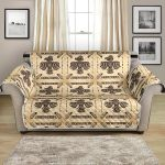 Brown Background Native American Themed Pattern Sofa Couch Protector Cover
