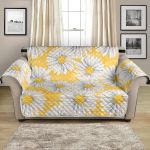 Pure White Daisy And Yellow Watercolor Pattern Sofa Couch Protector Cover
