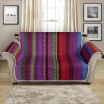Colorful Serape Stripe Themed Pattern Sofa Couch Protector Cover
