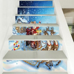 Christmas Santa Smile Pattern Stair Stickers Stair Decals Home Decor