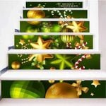 Christmas Gold Ball Pattern Stair Stickers Stair Decals Home Decor