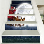 Christmas Santa And Moon Pattern Stair Stickers Stair Decals Home Decor