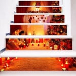 Christmas Red Candle Ball Pattern Stair Stickers Stair Decals Home Decor
