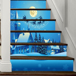 Christmas Santa And Deer Fly Pattern Stair Stickers Stair Decals Home Decor
