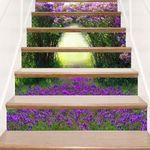 Purple Flower Pattern Stair Stickers Stair Decals Home Decor