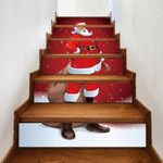 Christmas Santa Pattern Stair Stickers Stair Decals Home Decor