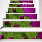 Christmas Tree And Balls Pattern Stair Stickers Stair Decals Home Decor