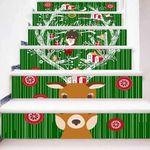 Christmas Deer Santa Pattern Stair Stickers Stair Decals Home Decor