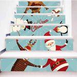 Cute Christmas Deer Santa Pattern Stair Stickers Stair Decals Home Decor