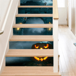 Scared Pumpkin Face And Spiders At Night Stair Stickers Stair Decals Home Decor