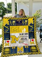 Michigan Wolverines – To My Son – Love Mom Quilt Blanket
