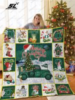 Bl – Oregon Ducks Christmas Truck Quilt Blanket