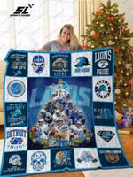 Bl – Detroit Lions Christmas Tree Quilt Blanket