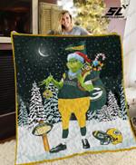Green Bay Packers Grinch Santa Quilt Blanket