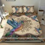 Colorful Hummingbird Mandala Duvet Cover Bedding Set
