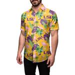 LSU Tigers Logo Team NCAA National Collegiate Athletic Association Men's Floral Button Up Hawaiian Shirt