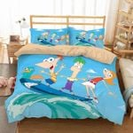 Disney Phineas And Ferb Surfing Friends 3D Printed Duvet Cover Bedding Set