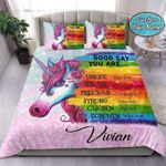 Unicorn God Say You Are Personalized Custom Name Duvet Cover Bedding Set