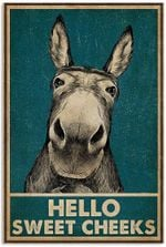 Vintage Hello Sweet Cheeks Donkey Funny Donkey Vintage Retro Art Picture Home Wall Decor Vertical No Frame Full Size