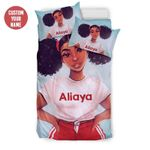 Young Fresh Black Teen Girl Magic Personalized Custom Name Duvet Cover Bedding Set