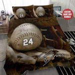 Baseball Ball And Glove Background Duvet Cover Bedding Set Personalized Custom Name And Number