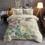 Hummingbird Flowers Painting Duvet Cover Bedding Set