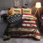 Baseball American Flag Personalized Custom Name Duvet Cover Bedding Set