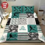 Eat Sleep Softball Personalized Custom Name Duvet Cover Bedding Set